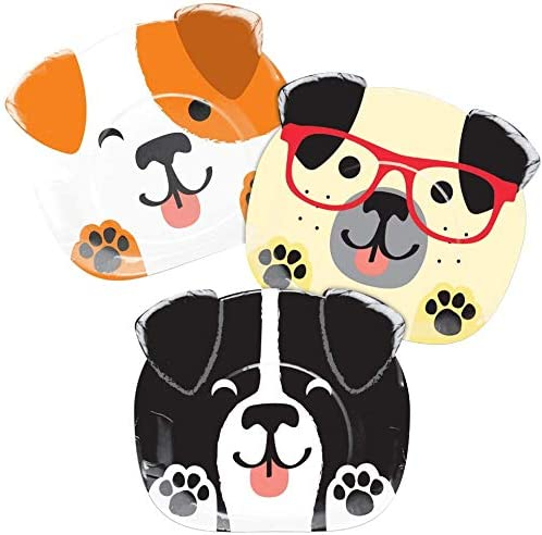 Cups Dog Themed Birthday Party Supplies Napkins /& Tablecloth Dog Themed Party Tableware Set for 16 Guests Dog Shaped Dinner Plates Dog Birthday Party Plates