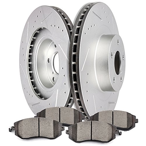 SCITOO Brake Kit Slotted and Drilled Discs Brake Rotors and Ceramic Pads for for 05-06 Saab 9-2X,03-06 Subaru Baja,02-08 Subaru Forester,02-05 Subaru Impreza,02-04 Subaru Legacy,02-05 Subaru Outback