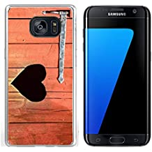 Luxlady Samsung Galaxy S7 Edge Clear case Soft TPU Rubber Silicone IMAGE ID: 42843465 Outdoor toilet door with carved heart below iron hinge Old traditional marking for outhous