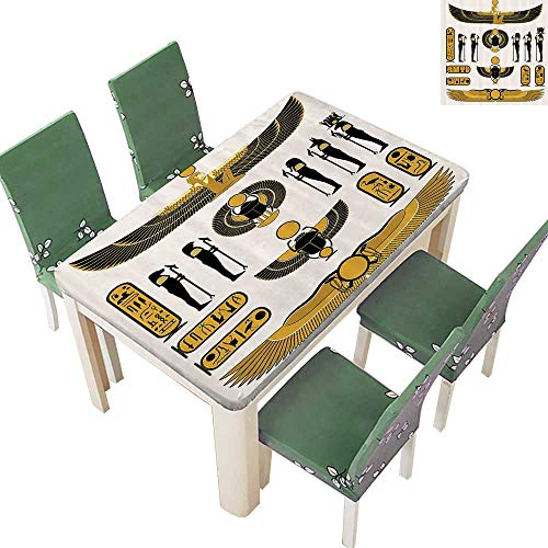 Printsonne Indoor and Outdoor Tablecloth Old Historical Egyptian Spirit Symbol Myth ICS Mummy Ra Sun Liquid Spills Bead up 50 x 102 Inch