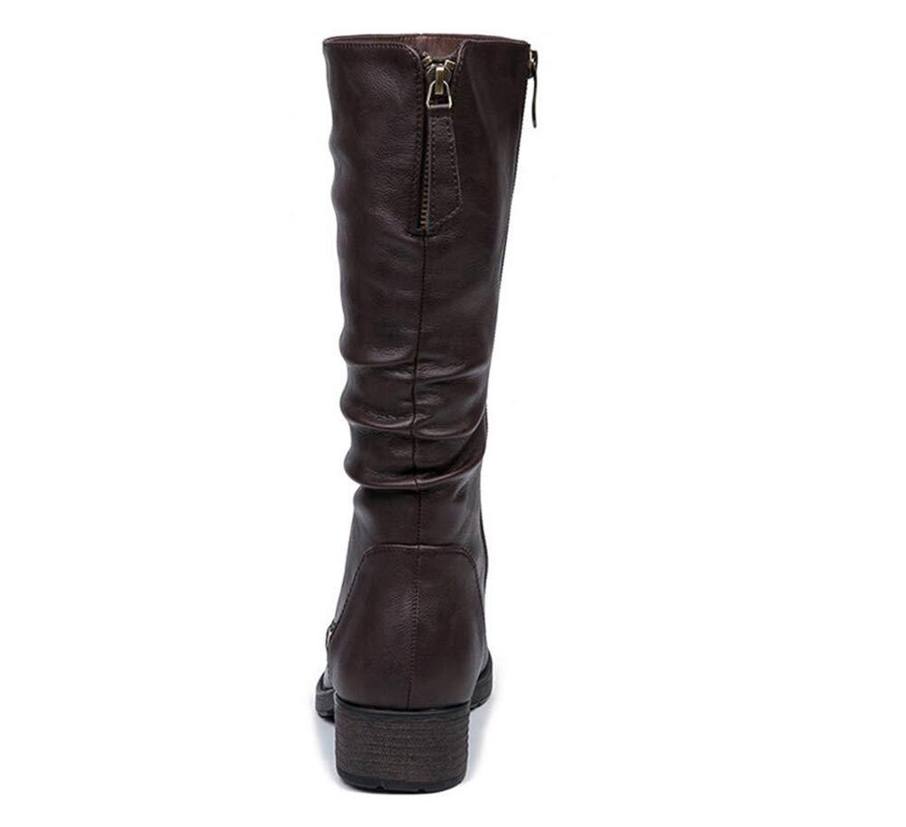 Damen Stiefel Herbst Und Winter Lange Schlauch Schlauch Schlauch 32 cm Mode Starke Ferse Stiefel Damen Britische Wind Frauen Stiefel (Farbe   B Größe   36) 98905c