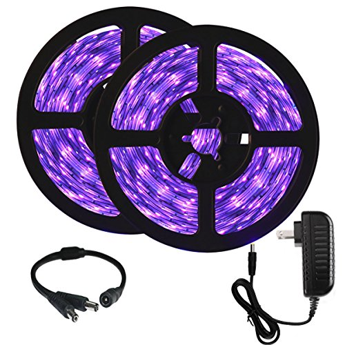 Onforu 33ft LED UV Black Light Strip Kit, 600 Units UV Lamp Beads, 12V Flexible Blacklight Fixtures, 10m LED Ribbon, Non-Waterproof for Indoor Fluorescent Dance Party, Stage Lighting, Body Paint