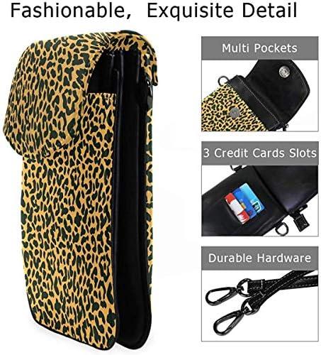 Mu You Ben Grandes poches série petit sac à bandoulière léopard en cuir véritable fille téléphone portable sac à main portefeuille pour les femmes
