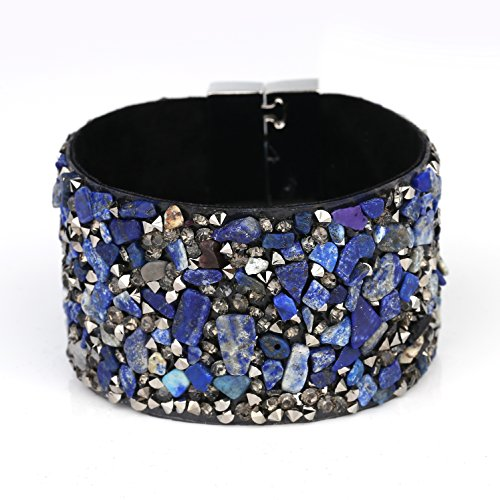 Beautifully Crafted Cuff Wristband Bracelet, with/without Eye-Catching Agglomerated Stones / Embedded Swarovski Style Crystals