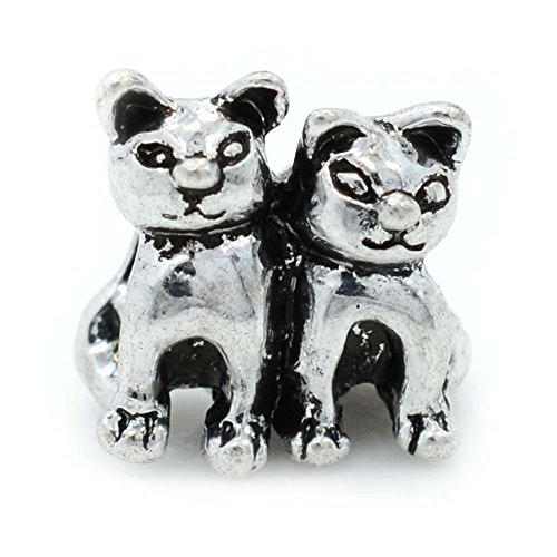 Pro Jewelry Two Cats Charm Bead Compatible with European Snake Chain Bracelets