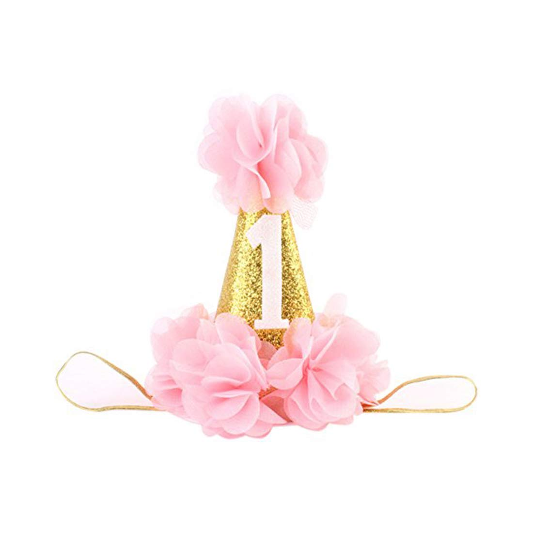 TZCER Infant Baby 1st Birthday Party Hat Princess Hairband Baby Girl Flower Delicate Hair Accessories Crown Party Hats, Pink, Small