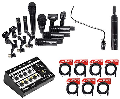 Audio Technica (7) Drum Microphone Kit+Choir Mic+Mixer For Church Sound Systems
