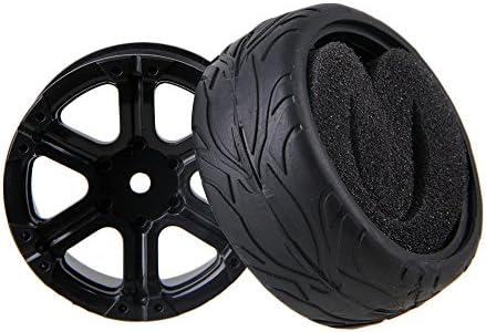 Mxfans rc1: 10ブラック魚スケールパターンラバータイヤ&プラスチック6-spokeホイールリムのオンロードレーシング車のセット4