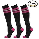 fenglaoda Graduate Compression Socks(10-17 mmHg, Knee High Colorful Novelty Socks for Running,Crossfit,Travel,Nurse,Maternity Pregnancy 1/3/4 Pairs (3 Pairs-black3)