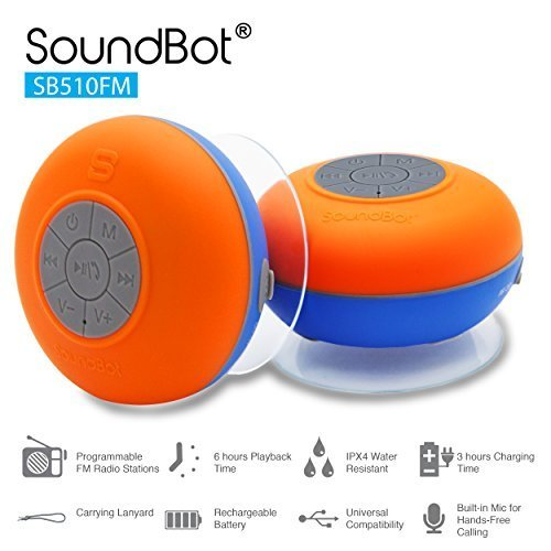 Amazon Lightning Deal 73% claimed: SoundBot SB510FM FM RADIO Water Resistant Bluetooth Wireless 5W Shower Speaker HandsFree Portable Speakerphone w/ Auto-Scan Tuner, 6Hrs Music Streaming, Built-in Mic, Detachable Suction Cup, Lanyard