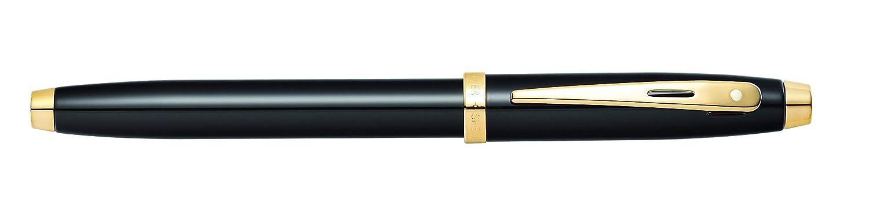 Pluma estilogr/áfica lacada negra con ribete dorado Sheaffer 100