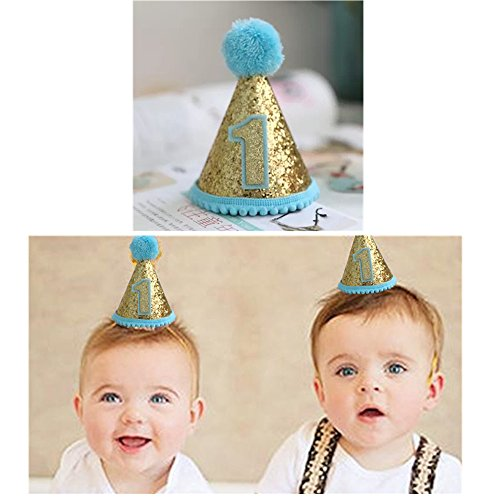 Gold Glitter Sparkle 1st Birthday Cone Hat with Adjustable Headband for Baby Boy Party Supplies(Blue) (Boys 1st Birthday Party Hat)