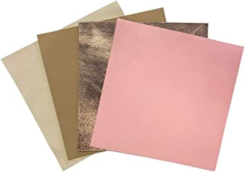 Beige Rose Gold Leather Sheets 4 Leather Sheets for Crafts 10x10In// 25x25cm