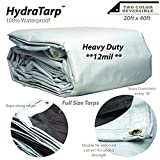 HydraTarp 20 Ft. X 40 Ft. Heavy Duty Waterproof Tarp - 12mil Thick - White / Brown Reversible Tarp