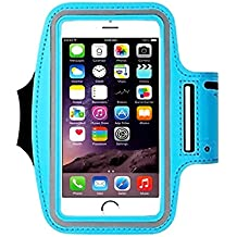 Cell Phone Armband: 5.7 Inch Case for iPhone 8/8plus.7 Plus, 6/6S Plus, S8,All Galaxy Note Phones.etc. CaseHQ Adjustable Reflective Velcro Workout Band, Key Holder & Screen Protector (skyblue)