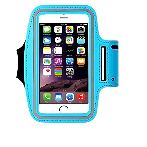 Cell Phone Armband: 5.7 Inch Case for iPhone 7 Plus, 6/6S Plus, S8, PIxel XL, All Galaxy Note Phones.etc. CaseHQ Adjustable Reflective Workout Band, Key Holder & Screen Protector (skyblue)