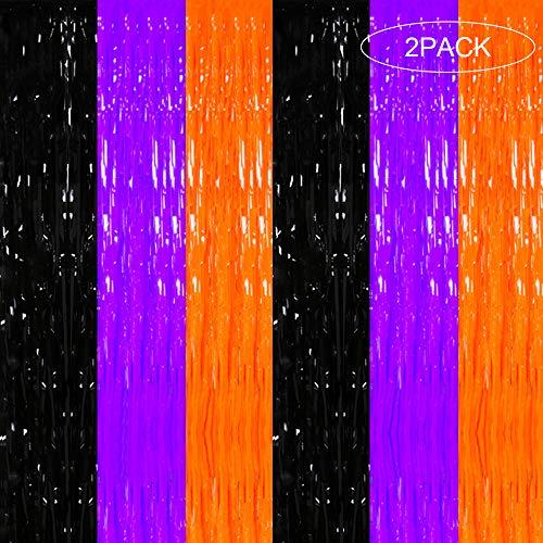 Jblcc 2PCS Halloween Orange Metallic Tinsel Foil Fringe Curtains - Orange Purple Black Foil Fringe Curtains Halloween Party Decorations (Purple Orange Curtains And)
