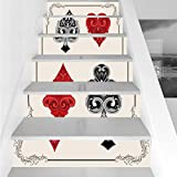 Stair Stickers Wall Stickers,6 PCS Self-adhesive,Poker Tournament Decorations,Baroque Frame Gamble Symbols Vintage Antique Ornamental,Red Black Silver,Stair Riser Decal for Living Room, Hall, Kids Roo