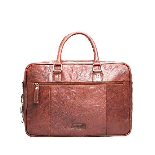 Montana Leather Laptop Bag - Borsa business con scomparto imbottito Notebook e molte caratteristiche realizzate in 100% pelle Brandy