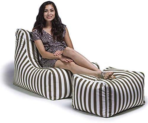 Jaxx Ponce Outdoor Bean Bag Lounge Chair Leon Ottoman, Taupe Stripes