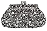 Holiday Celebration Sparkling Crystal Bridal Clutch Special Occasion Rhinestone Evening Bag Silver