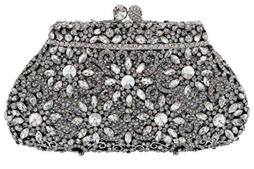 Holiday Celebration Sparkling Crystal Bridal Clutch Special Occasion Rhinestone Evening Bag Silver (Metallic Bag Pouch Evening)