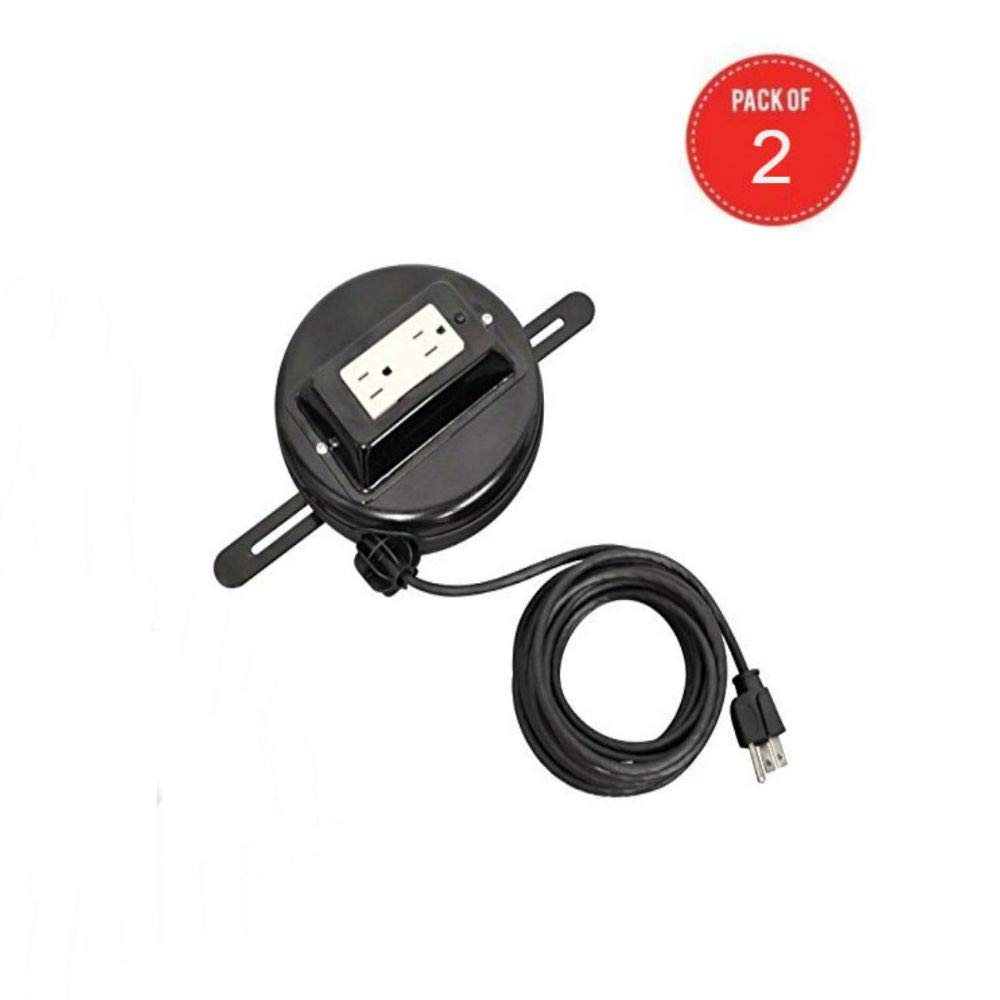 LUXOR RE20 Retractable Power Cord, 20'' (Pack of 2)
