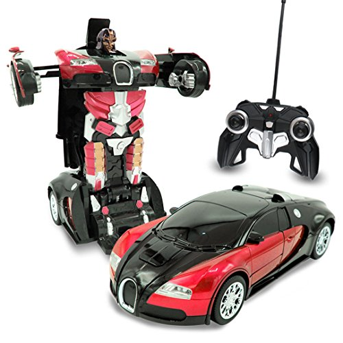 Kids RC Transforming Robot Toy Red Inferno Remote Control (27 MHz) Sports Car with One Button Transformation, Realistic Engine Sounds and 360 Speed Drifting 1:14 Scale (Red)