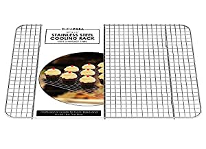 """Baking Rack - Cooling Rack - Stainless Steel 304 Grade Roasting Rack - Heavy Duty Oven Safe, Commercial Quality Cooling Racks For Baking - Fits Perfectly in Half Sheet Pan - Metal Wire Grid Rack Design - Lifetime Guarantee (12"""" X 17"""")"""