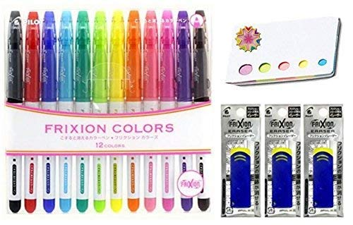Pilot Frixion Erasable Coloring Pens 12 Pack with Sticky notes and 3 blue erasers - Multi Colored Dry Erase Markers, Comfy Grip, Retractable Clip On Cap - For Home, School, Students, Kids, Drawing by Pilot