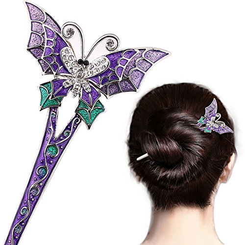 LiveZone Fashion Hair Decor Chinese Traditional Style Women Girls Hair Stick Hairpin Hair Making Accessory with Butterfly,Purple