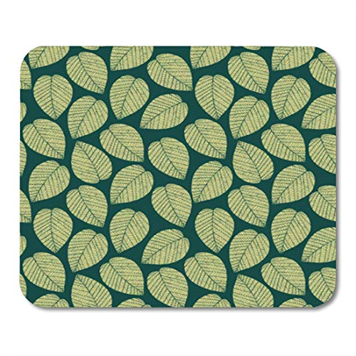 (Semtomn Gaming Mouse Pad Blue Abstract Leaf Endless Retro Pattern Yellow Leaves and Posh 9.5