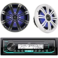 JVC KDX35MBS Digital Media Bluetooth Powersport Car Receiver Bundle Combo With Kicker KM654LCW 6.5 Led Marine Speakers