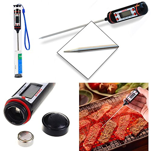 Digital Cooking Thermometer Instant and Accurate Read Long Probe LCD Display for Food Meat BBQ Milk and Candy-Black.