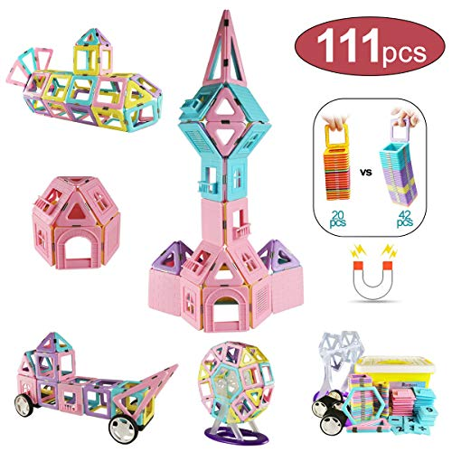 (Romboss 111Pcs Magnetic Blocks 3D Creative Magnet Building Tiles Preschool Construction Educational Blocks Toys Set for Age 3+ Boys Girls Children Kids Gifts)