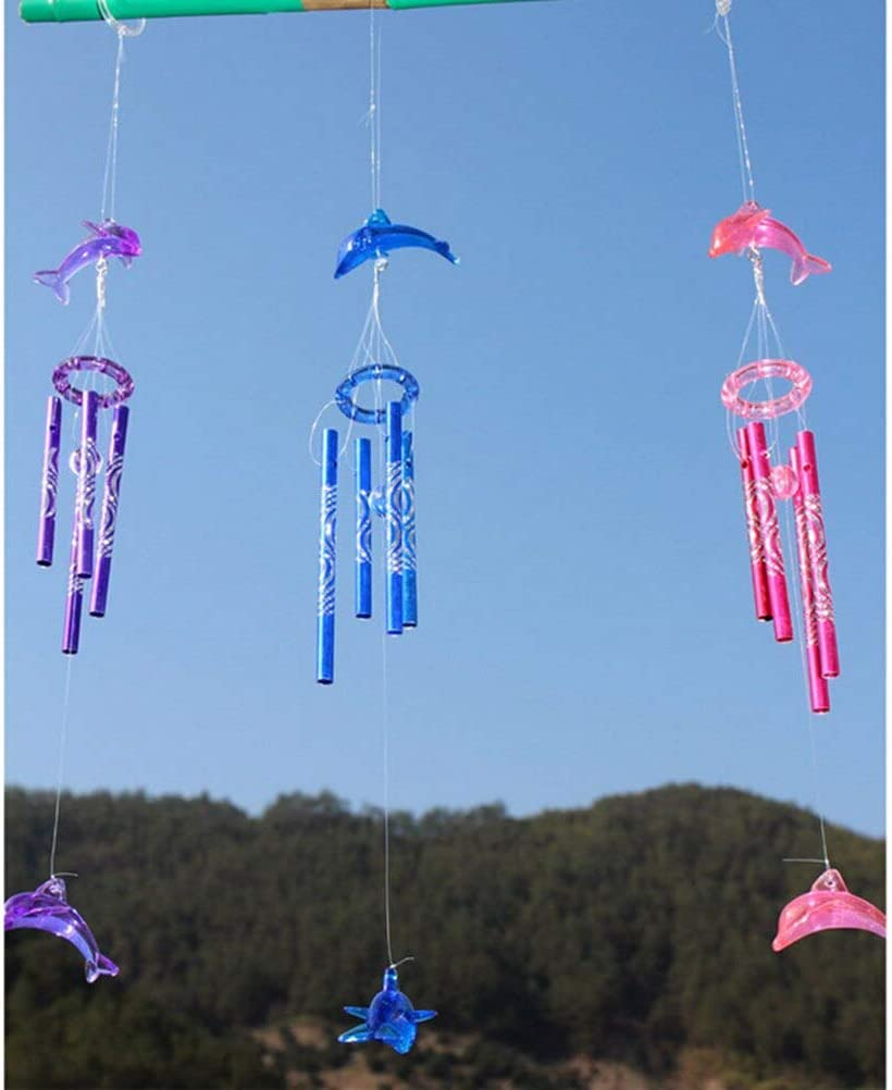 Dolphin Creative Crystal 4 Metal Tubes Windchime Wind Chime Home Decor MW