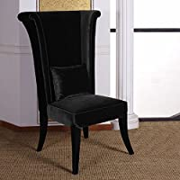 Armen Living LC847SIBL Mad Hatter Dining Chair in Black Velvet and Black Wood Finish