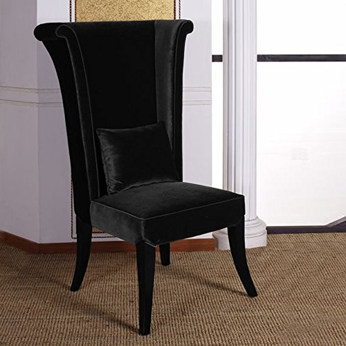 - Armen Living LC847SIBL Mad Hatter Dining Chair in Black Velvet and Black Wood Finish