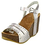 Cambridge Select Women's Open Toe Perforated Laser Cutout Studded Buckled Ankle Strap Chunky Platform Wedge Sandal (10 B(M) US, Silver PU)