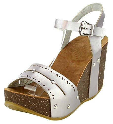 Cambridge Select Femmes Orteil Ouvert Découpe Laser Cloutés Boucle Cheville Sangle Chunky Plate-forme Wedge Sandale Argent Pu