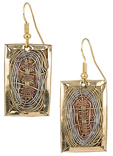 Handmade 3 Toned Basket Weave Earrings | SPUNKYsoul Collection (Rectangle)