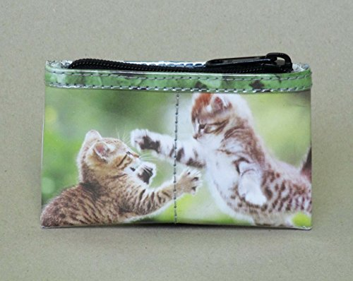 Zip coin purse for cat lovers - Free standard shipping - Upcycling by Milo