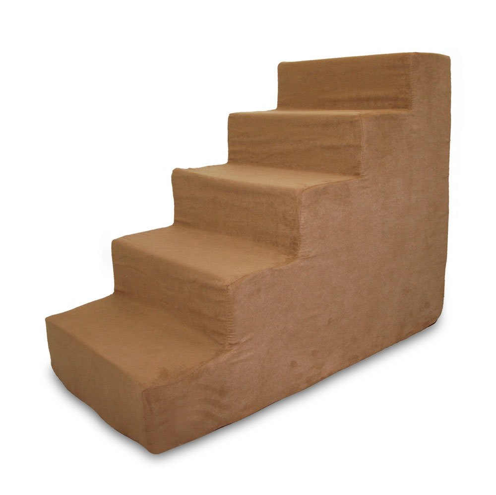 Light Brown 5StepBest Pet Supplies 5Step Foam Pet Stairs Steps, 30 by 15 by 23Inch, Beige Paw on Black