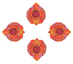 Ramya's Handpainted Earthen Terracotta Decorative Diwali Diyas - Set of 4 (7115)