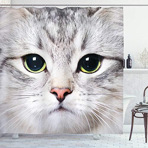 Ambesonne Cat Shower Curtain, Cat Print Kitten Kitty Closeup Portrait Digital Photography Domestic Pet, Cloth Fabric Bathroom Decor Set with Hooks, 70 Long, Grey Ivory