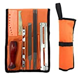 Chainsaw Sharpening Kit 10 Piece Professional Saw Chain Blade Sharpener Tool Set with 5/32 3/16 7/32 Round Files, Guide, Flat File, Handle, Gauge and Storage Pouch
