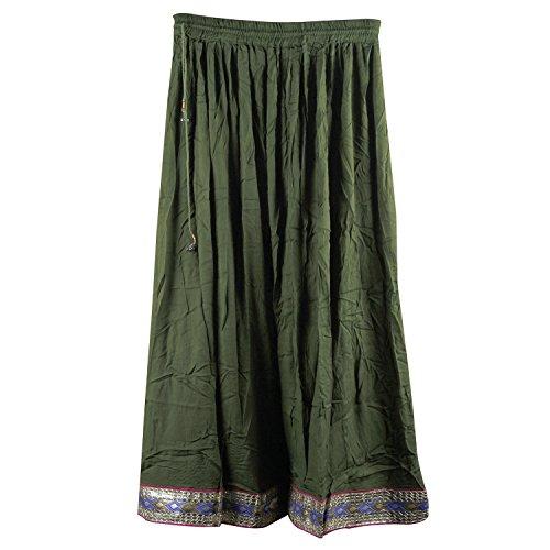 Suman Enterprises Indian Party Wear,Belly Dance Rayon Boho Skirt wd Hippie Gypsy Gota (Mehandi Green)