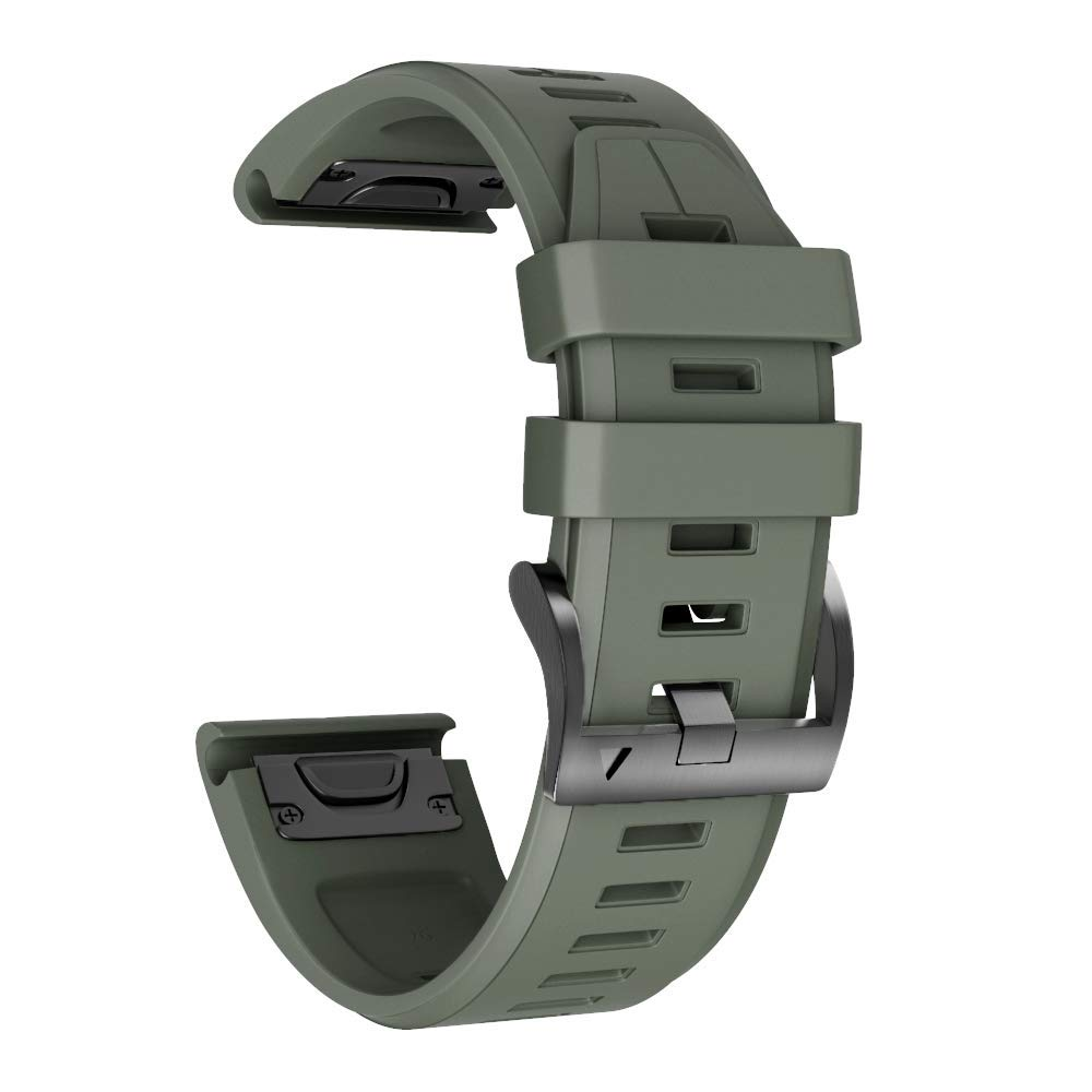 ANCOOL Compatible Fenix 5X Plus Band 26mm Easy Fit Silicone Smartwatch Bands Replacement for Fenix 6X/Fenix 6X Pro/Fenix 5X/Fenix 5X Plus/Fenix 3/Fenix 3 HR (Olive Green) by ANCOOL