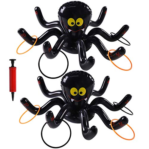 Fun Halloween Games For Parties (Max Fun Halloween Inflatable Spiders Ring Toss Game Pack of 2 for Halloween Kids Party Favors Supplies Outdoor Indoor Ring Toss)