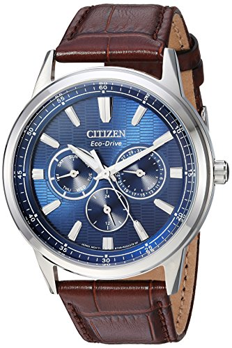 (Citizen Men's Eco-Drive Stainless Steel Japanese-Quartz Watch with Leather Calfskin Strap, Brown, 20 (Model: BU2070-12L))